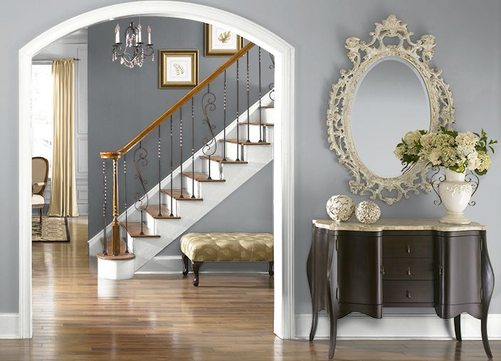 This is the project I created on Behr.com. I used these colors: FRENCH SILVER(PPU18-5),GRAY AREA(770F-4),ULTRA PURE WHITE(PPU18-6),ANTIQUE TIN(PPU18-3),