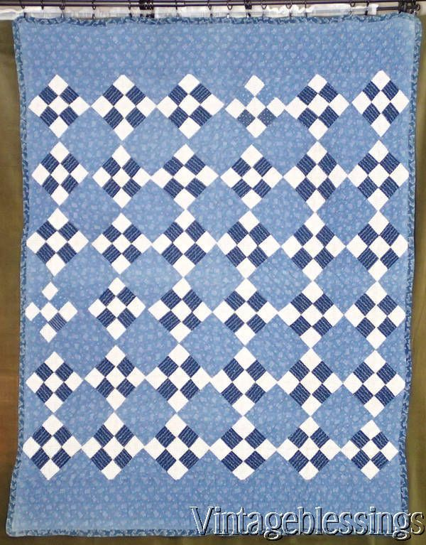 Beautiful Indigo Blue & White ANTIQUE c1880s QUILT Farmhouse Primitive Country www.Vintageblessings.com