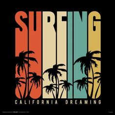 Amazon.com: Surfing California Dreaming Retro Vintage Style Decorative Summer Water Sports Illustrated Poster Print 12x12: Posters & Prints