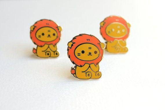 Lion Pin Badge Enamel Pin Lapel Pin Hard Enamel Pin by mochichito
