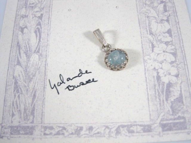 Sterling Silver Genuine Aquamarine Cabochon Pendant  YOLANDA BUSSE TYL Mine JS #HANDMADE #Pendant