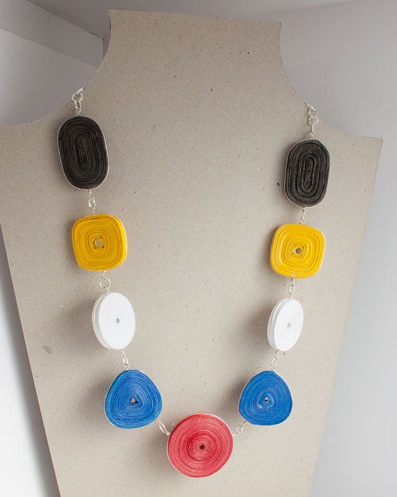 Recycled paper jewelry: Primary Colors