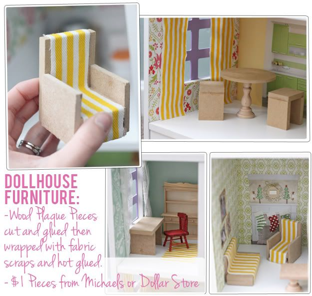 The Busy Budgeting Mama: DIY dollhouse furniture ideas...best I've seen so far!  just what I am looking for for my 3 year old twin granddaughters' first dollhouse.
