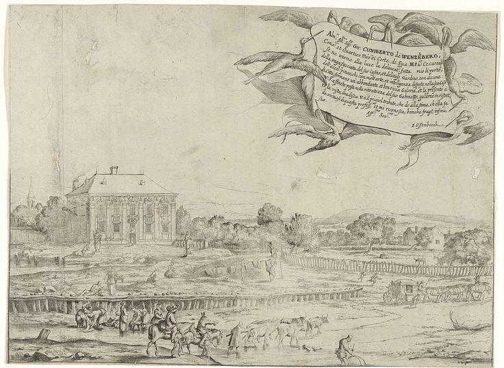 Jan van Ossenbeeck | Zomerhuis van Cunibert van Wenzelsberg, Jan van Ossenbeeck, Johann Cunibert von Wenzelsberg, 1664 | Gezicht op het zomerhuis van kwartiermaker en kunstverzamelaar Cunibert van Wenzelsberg. Voor het huis staan in de kale tuin twee beelden. Rechts is een koppel met herten.  Twee ruiters en een herder met zijn koeien doorwaden een beek voor het huis. Even verderop doen vrouwen de was in de beek.