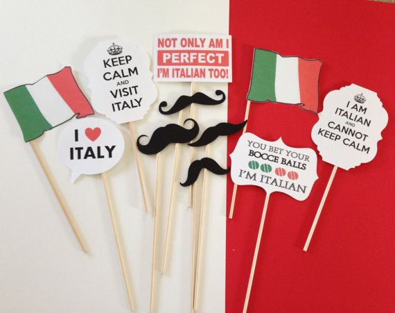 Italian Photo Prop Set  Italian Theme party by CreatedToParty