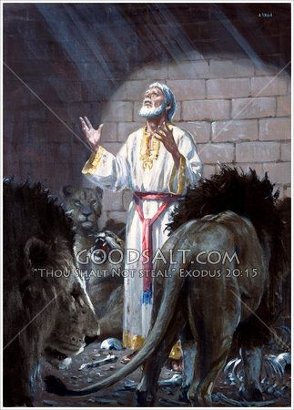 """Daniel praying in the lion's den.""""My God hath sent his angel, and hath shut the lions' mouths, that they have not hurt me: forasmuch as before him innocency was found in me; and also before thee, O king, have I done no hurt."""" KJV Daniel 6:22  Daniel In The Lion's Den The Pacific Press Collection"""