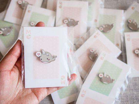 Narwal Walvis Pin zilver emaille pins schattige narwal met