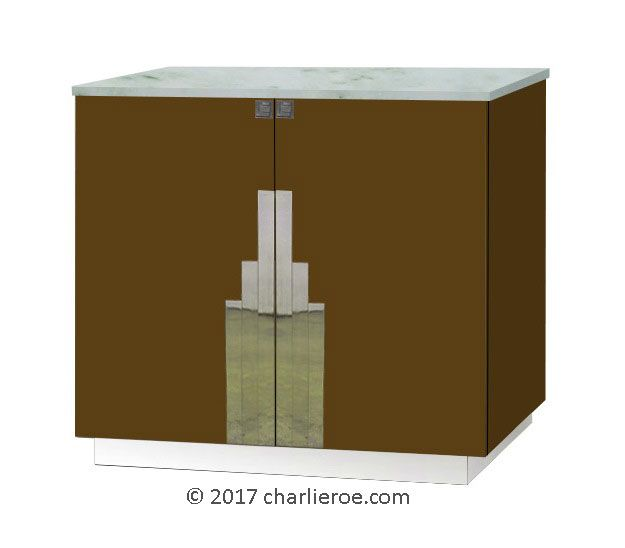 TDS - The Design Service - New Art Deco lacquered painted 2 door sideboard with Deco design on doors