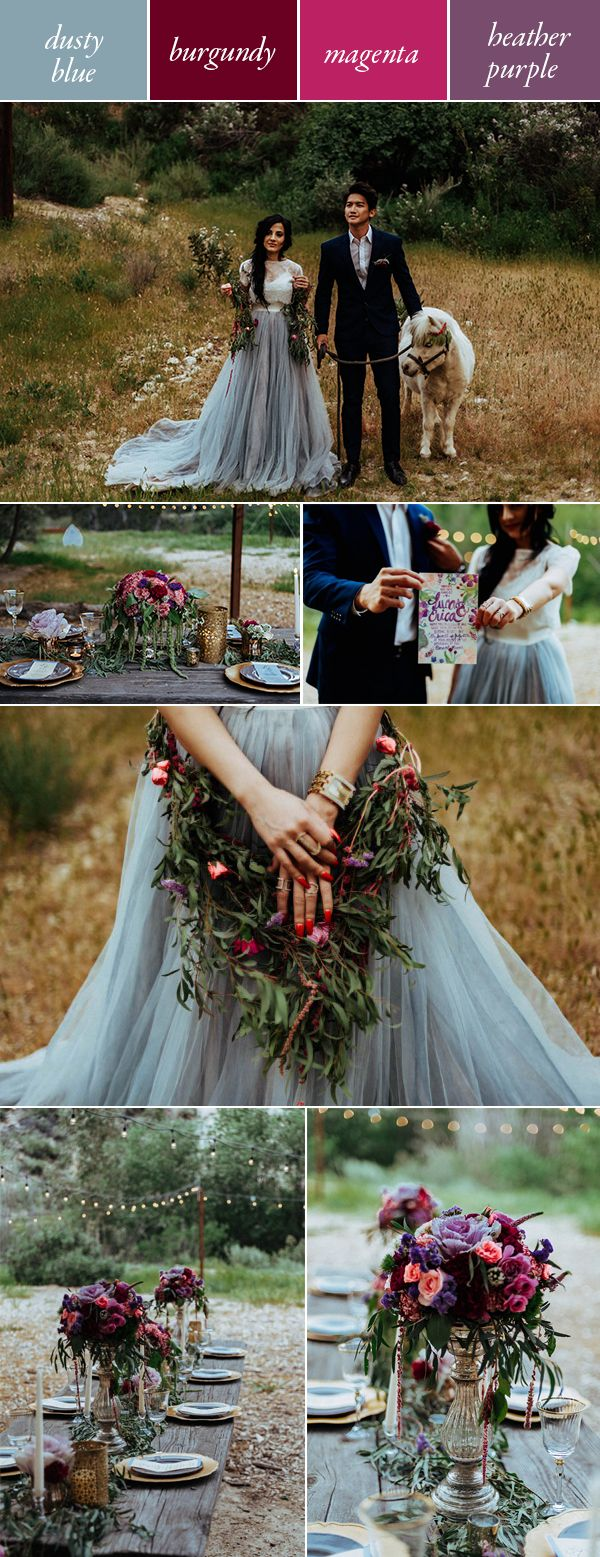 Fairy tale wedding featuring dusty blue, burgundy, magenta, and heather purple! The understated nature of these colors keeps them from being overly saccharine, while keeping them firmly in the moody wedding color category