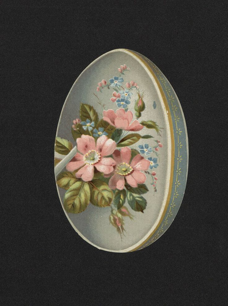 Egg shaped Easter Card. 19th century