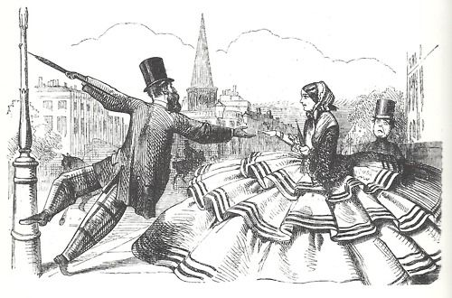 vicfangirlguide:        A cartoon which appeared in the satirical magazine 'Punch' in 1856 demonstrating the difficulties which the new fashion for crinolines posed to social interaction.:
