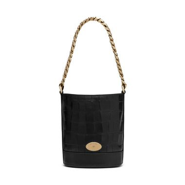 Mulberry - Mini Jamie in Black Deep Embossed Croc Print