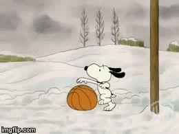 I want a dog for Christmas Charlie Brown. Snoopy playing basketball./lisa