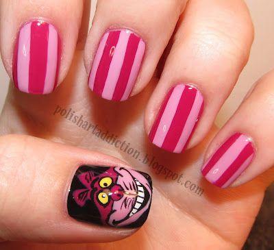 Love the Cheshire cat!Nails Art, Cheshire Cat, Nails Design, Nailart, Alice In Wonderland, Disney Nails, Nails Ideas, Nails Polish, Cat Nails
