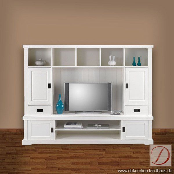 schrankwand sofia wei h163cm massivholz tv schrank dieser herrliche schrank im landhausstil. Black Bedroom Furniture Sets. Home Design Ideas