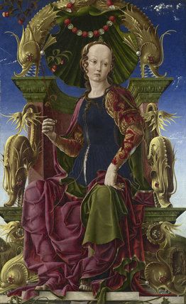 Cosimo Tura (Ferrara, Italy, 1430-1495) ~ Allegorical Figure (the Muse Calliope?) ~ 1458-1460 ~ tempera and oil on panel ~ National Gallery, London. Tura became the favoured court artist of the Este family in the late 1450s and painted this figure as part of the decoration for the Este villa of Belfiore, Ferrara.