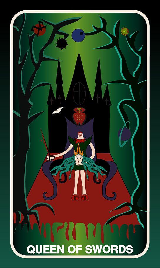 Tarot Card, Queen of Swords #swords #queen #witch #gothic #illustration #tarotdeck #children #tales #space #adventure #starwars