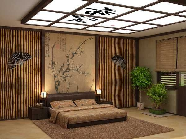 calming bonsai plants adding asian flavor to modern interior decorating - Oriental Bedroom Designs
