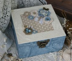 Vestir caixas de um boho la (imitação de jeans e couro gravado branco) - Mestres Fair - artesanal, feito à mão