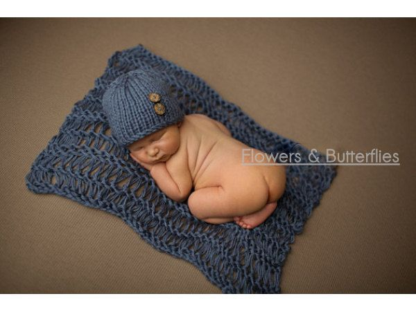 WORLDWIDE FREE SHIPPING 2pcs Beanies and Blanket Knitted Newborn Baby Photo Prop Photography Props Photo Props Baby Boys Photo Props by FlowersButterflies15 on Etsy