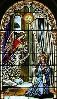 The angel Gabriel telling Mary that she will have a child:  Jesus.