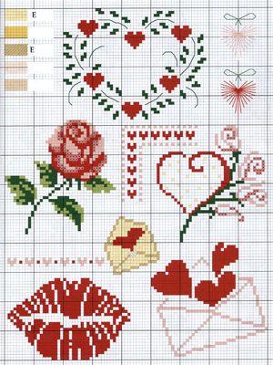 Gráficos de Ponto Cruz: Ponto Cruz gráficos Dia dos Namorados