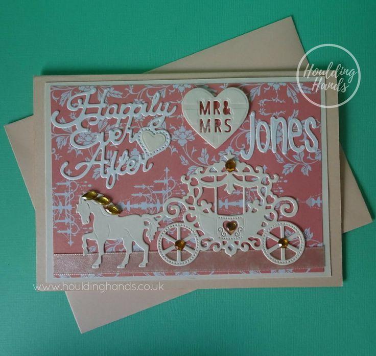 Peach Horse and Carriage Wedding Card