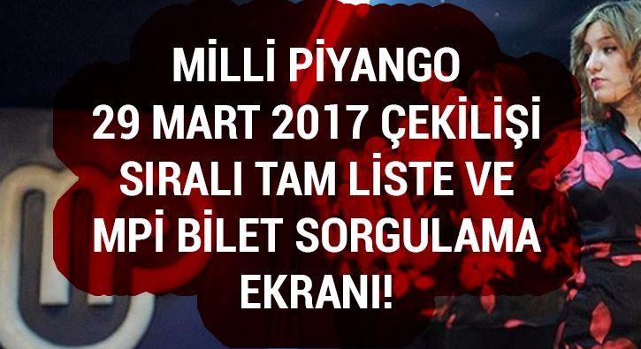 #YAŞAM 29 Mart Milli Piyango çekiliş sonuçları MPİ tam liste bilet sorgulama ikramiye öğrenme: Milli Piyango 29 Mart 2017 Çarşamba çekiliş…