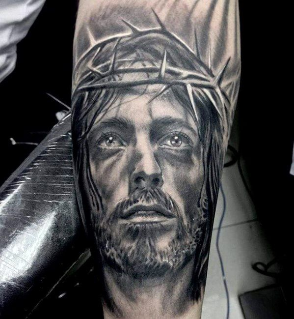 Male Forearm Realistic 3d Jesus Tattoo Ideas Jesus Tattoo Jesus Tattoo Design Tattoo Designs Men