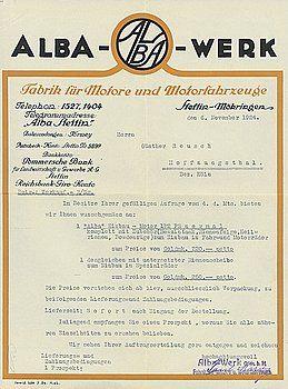 Automobilia Auktion Ladenburg- ALBA WERK STETTIN D 1924, Angebot über ALBA-Einbaumotor 1,5 PS + Bedingungen, guter Zust