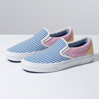 f364353737bf The Deck Club Classic Slip-On features sturdy low profile canvas uppers  with an allover striped print