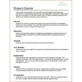 Free Project Charter Template. Use this template to define a project from the requestor's perspective and use the information to develop a detailed project management plan.
