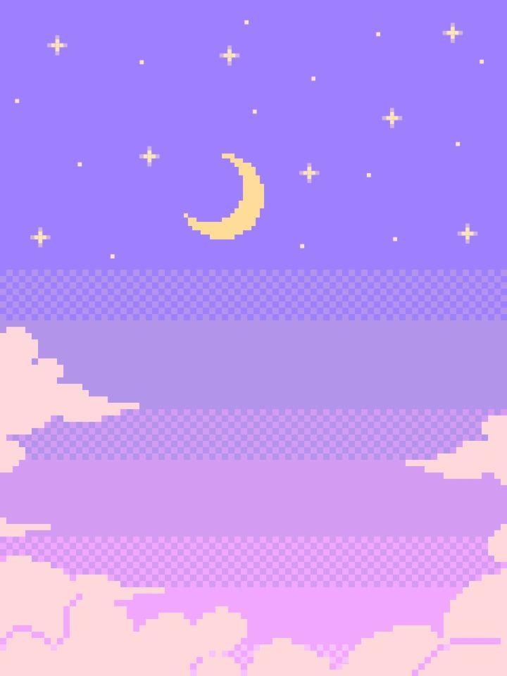 #aesthetic #soft #cute #purple #moon #pixel #clouds  Pixel art, Purple aesthetic, Aesthetic