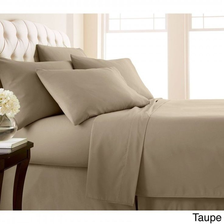 Queen 6-piece Sheet Set Extra Deep Pocket Flat Fitted Sheets Pillowcase Taupe  #Southshore #Contemporary