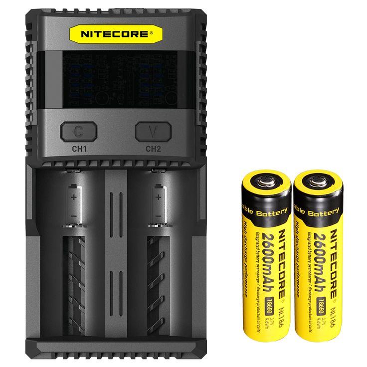 Nueva sc2 <font><b>nitecore</b></font> cargador de batería inteligente de carga excelente con 3a de salida total   2x2600 mah 18650 batería de li-en las baterías recargables