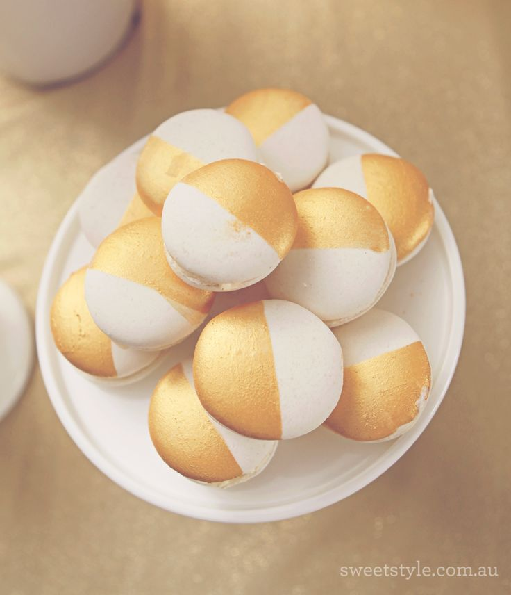Gold dipped macarons - a pretty and delicious treat!