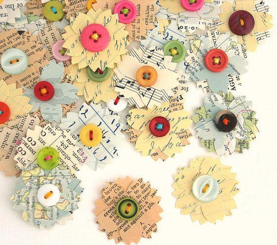 Handmade Vintage Paper Flowers, Vintage Paper, Vintage Embellishment, Scrapbooking, Cardmaking, Paper Goods