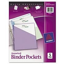 Avery 3-Ring Binder Poly. Pockets 5 Pack, Assorted Colors