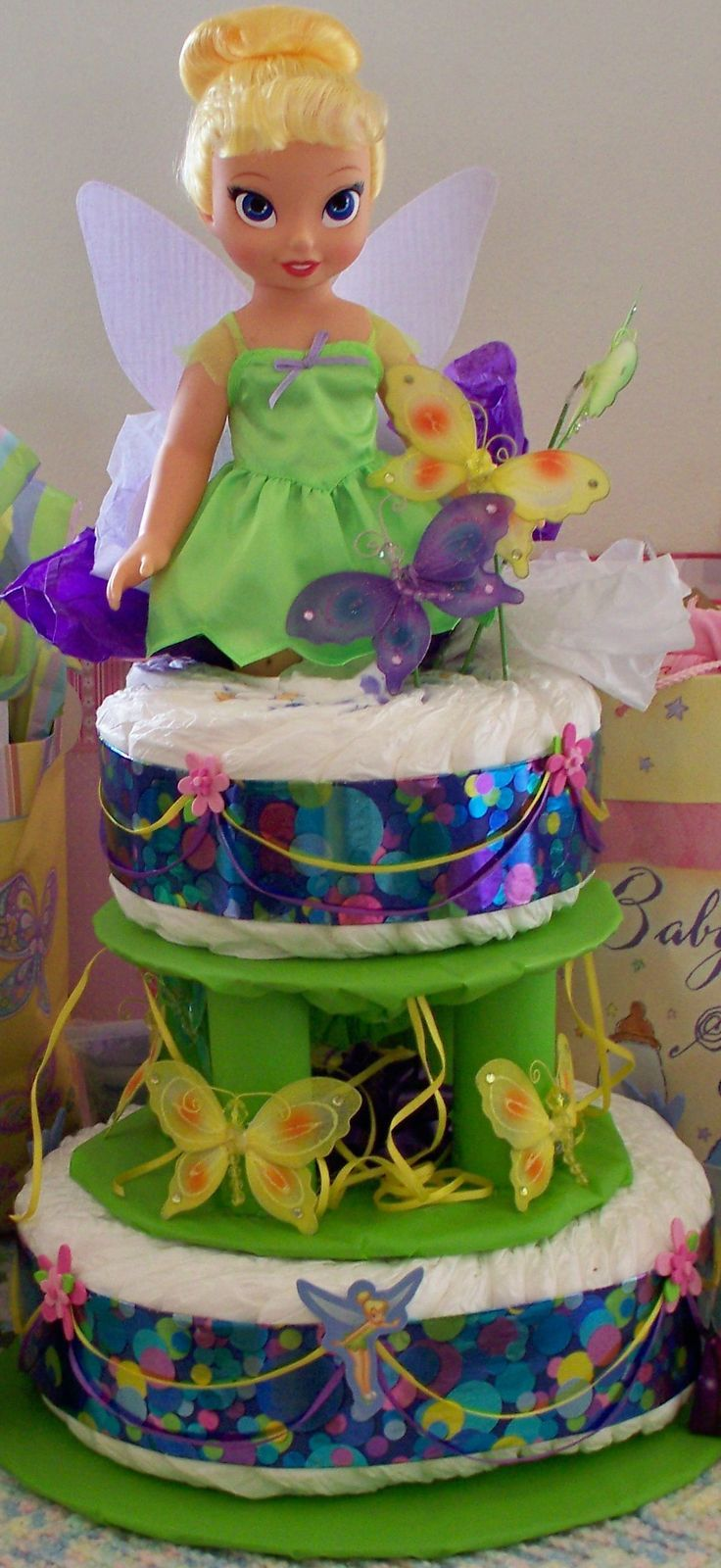 Tinkerbell Diaper Cake | Made This Tinker Bell Diaper Cake