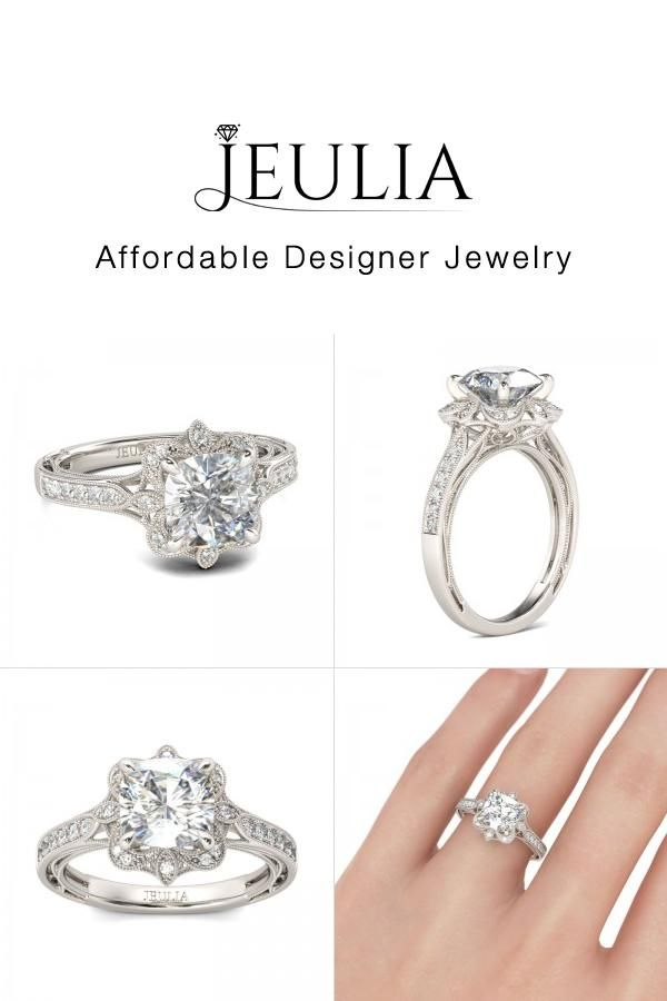 5d32057744b958 #Jeulia JEULIA Vintage Flower Head Engagement Ring Cushion Cut Created W.  Discover more stunning Vintage & Art Deco Rings from Jeulia.com. Shop Now!