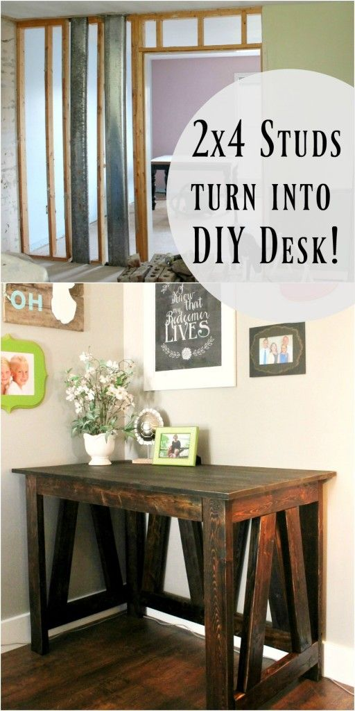 DIY Desk from 2x4s- You can make this in just one afternoon!