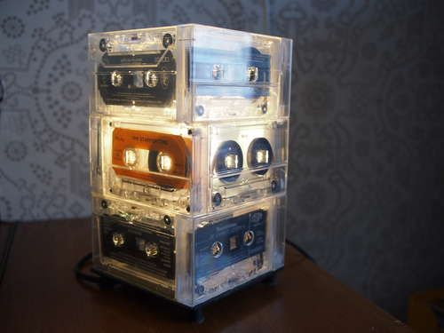 Cassette Tape Lamp DIY    http://www.instructables.com/id/Cassette-Tape-lamp-with-IKEA-Hemma-base/