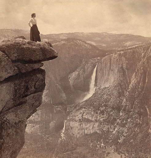 Glacier Point, Yosemite National Park, circa 1902.    Yosemite Valley is 3,254 feet below. Yosemite Falls is in the background.