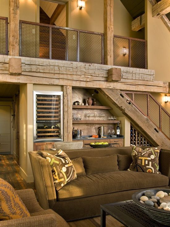 Best Bar Under Stairs … Rustic Living Room Design Rustic Living Room Bar Under Stairs 400 x 300