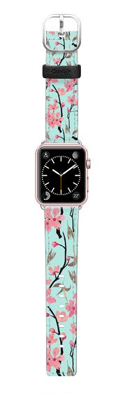Casetify Apple Watch Band (42mm) Saffiano Leather Watch Band - April blooms(sky) by Kanika Mathur #Casetify