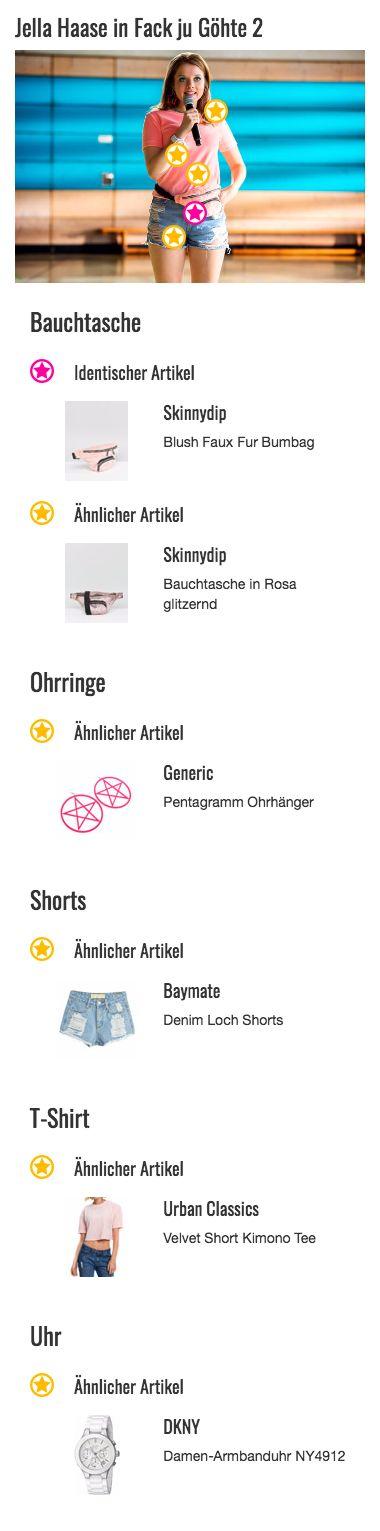 Bauchtaschen sind ziemlich praktisch. Das hat auch Chantal (Jella Haase) erkannt und kombiniert ein solches Accessoire zu ihrem Look. Die beiden Taschen bieten genügend Platz für Handy, Geld und Make-Up. Natürlich darf es bei der chaotischen Schülerin nicht einfach ein schlichtes Modell sein. Stattdessen hat sie sich für eine flauschige Gürteltasche in rosa von Skinnydip entschieden. Diese passt perfekt zu ihrem Outfit und greift die Farbe ihres Oberteils auf.