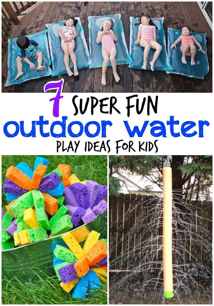 Saving these for next summer!! 7 totally awesome outdoor water play ideas for kids.