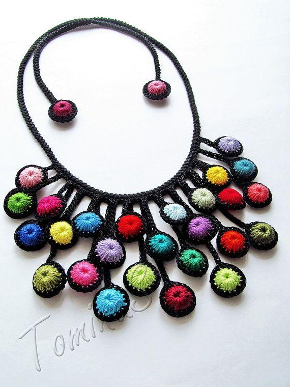 Hand crochet jewelry handmade crochet lariat by TominasName