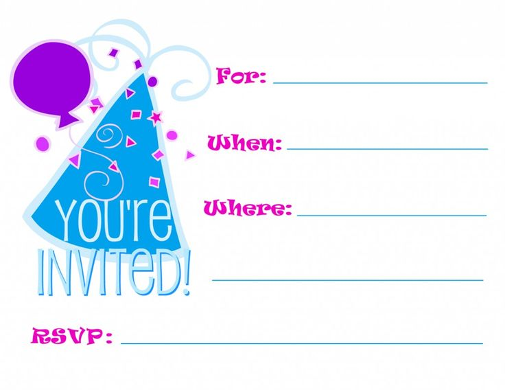 Printable Blue Party Hat Birthday Invites