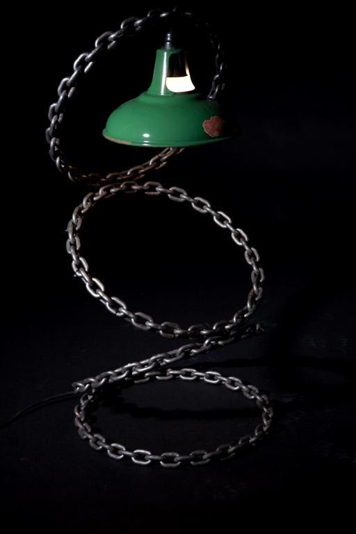Table / Desk lamp made from welded chain by VernArt on Etsy, £675.00